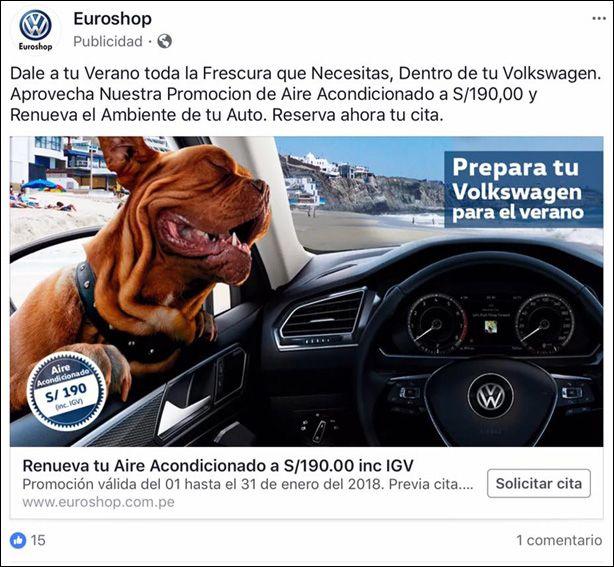 Euroshop Volkswagen Dealer – 2018  Source : Facebook  Agency : Unknown (Peru)