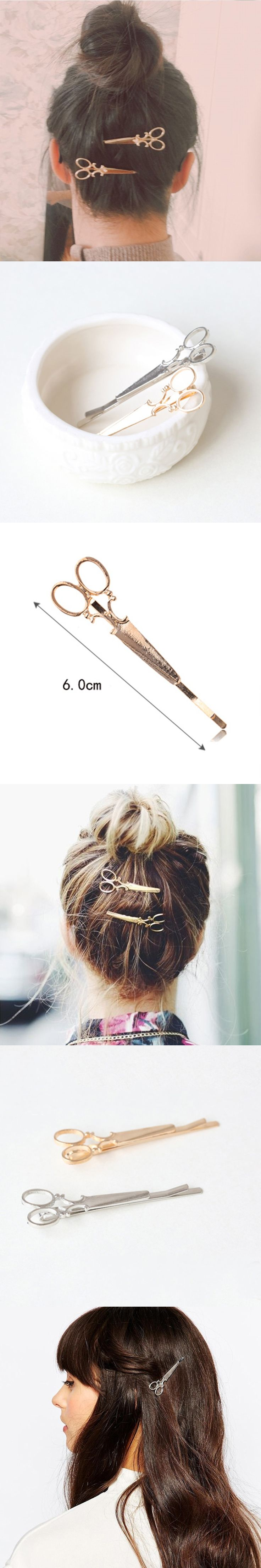 New Fashion Scissor Shaped Barrettes Golden Silver Hairpins Shiny Elegant Hair Clips For Women Girls Hair Accessories Wholesales