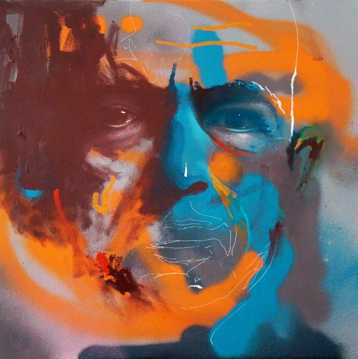 oil and spray on canvas