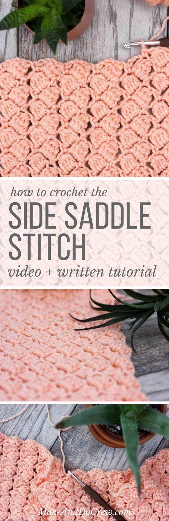 Side Saddle Crochet Stitch Tutorial - (makeanddocrew)