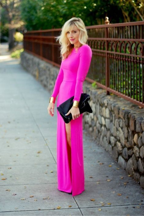 Shop this look on Lookastic:  http://lookastic.com/women/looks/hot-pink-maxi-dress-gold-bracelet-black-leather-clutch/10660  — Hot Pink Maxi Dress  — Gold Bracelet  — Black Leather Clutch