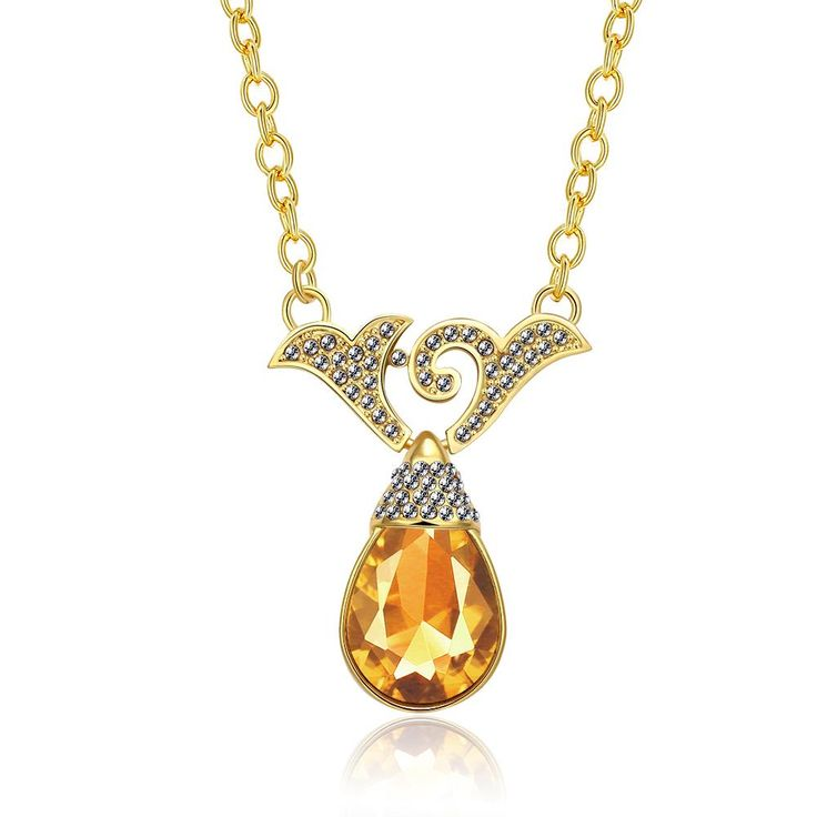 Romantic 24K Gold Plated Water Drop Rhinestone Necklaces for Women GPP164