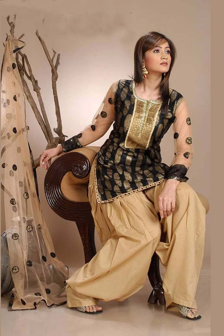 Black Cotton Punjabi Suit