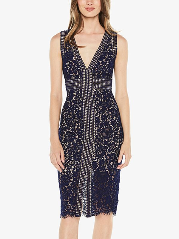 Shop - Navy Blue Deep V-neck Guipure Lace Midi Dress on Metisu.com.  Discover stylish and vogue women s dresses for the season. Regular  discounts up to 60% ... 8e173cb55