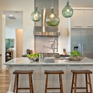 Demijohn pendants hung at different heights to compensate for different sizes.   Modern Kitchen Design, Pictures, Remodel, Decor and Ideas - page 4