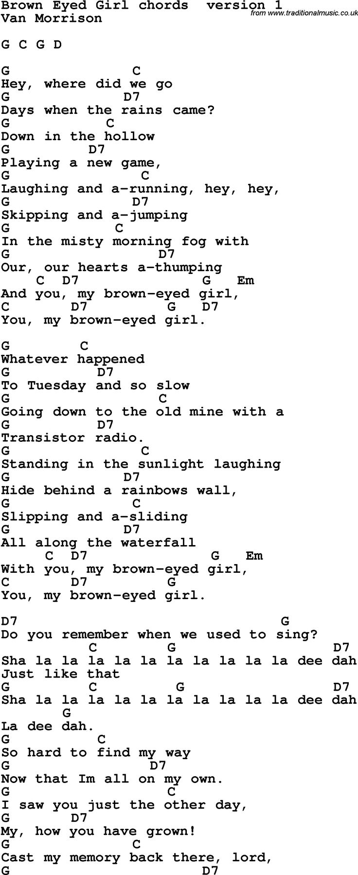 Song Lyrics with guitar chords for Brown Eyed Girl