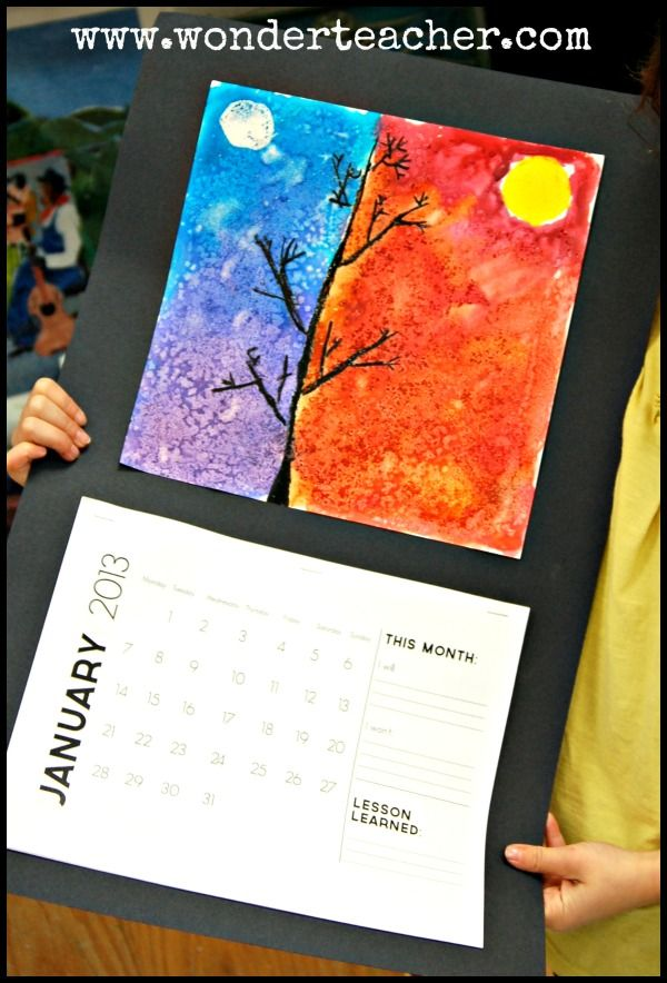 Watercolor resist calendar art: day and night sky. From wonderteacher blog.
