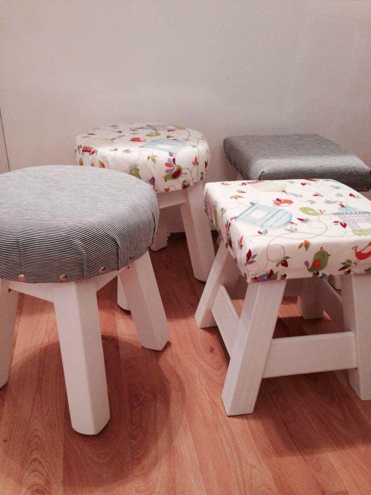 Bancos banquitos de madera tapizados cuadrados redondos - Tapizados para sofas ...