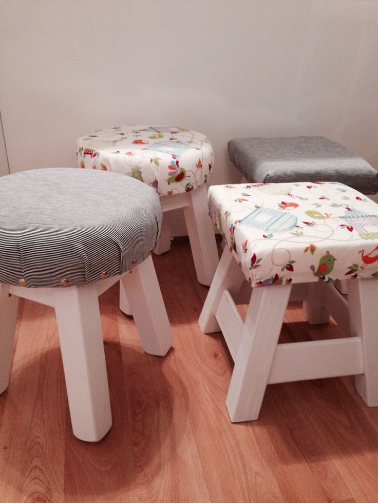 Bancos banquitos de madera tapizados cuadrados redondos - Tapizados para muebles ...