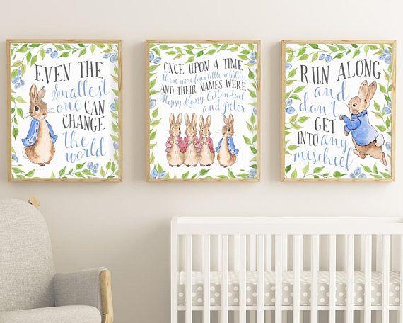 Peter Rabbit Print Set Prints Of 3 Nursery Printable Even The Smallest