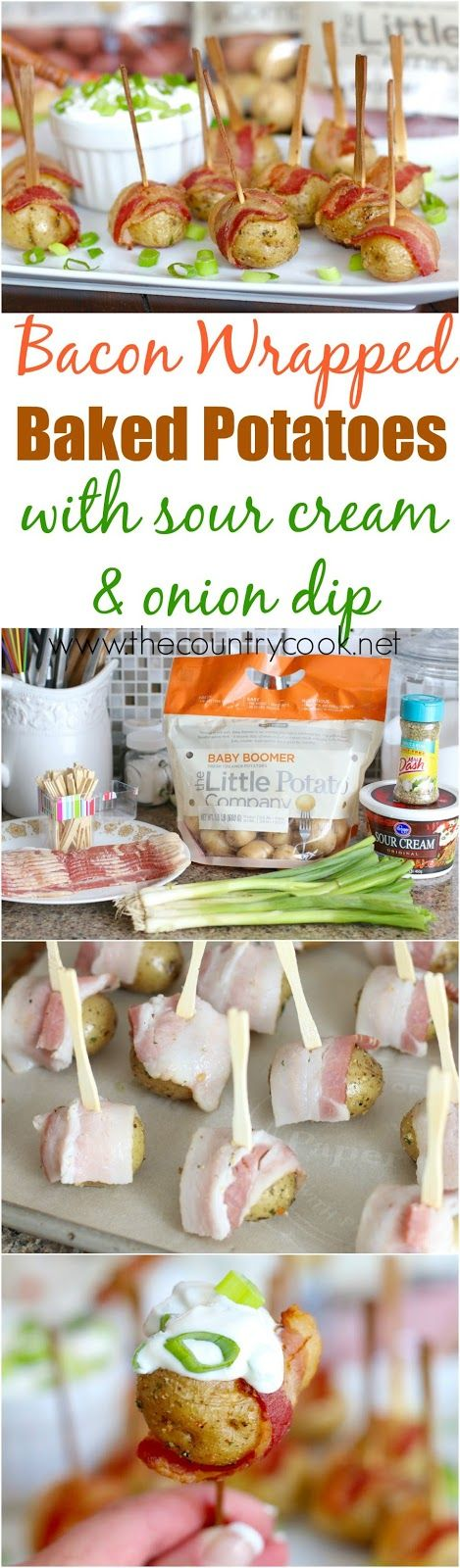 Bacon Wrapped Potatoes with Sour Cream & Onion Dip recipe from The Country Cook. Holy cow were these AMAZING!!! Next time I might even throw a little cheese on top when they come out of the oven. So, so good!!