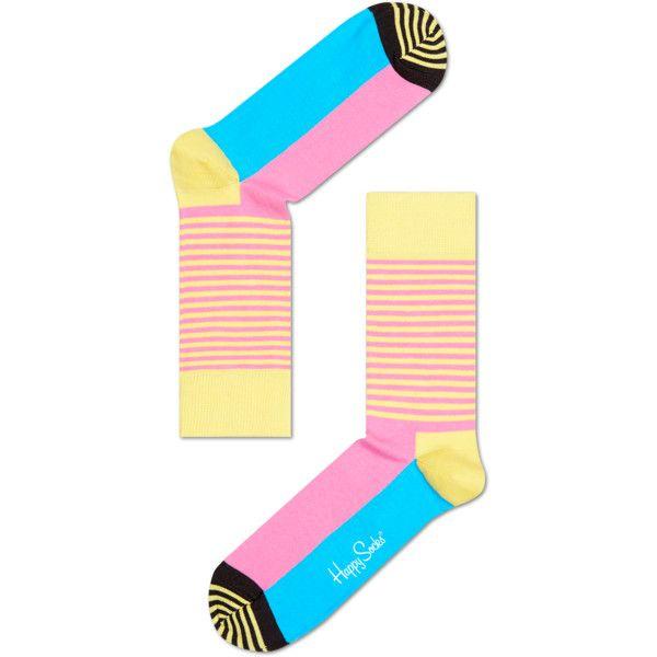 Stripe Half Sock ($12) ❤ liked on Polyvore featuring intimates, hosiery, socks, stripe socks and striped socks