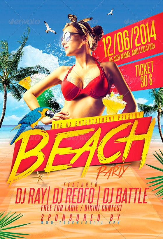 """Beach Party Flyer Template - http://www.ffflyer.com/beach-party-flyer-template-2/ Beach Party Flyer Template - Hight Quality Graphics 4/6 inches with 0,25"""" bleed 300 DPI CMYK Easy Customizable Text Organized Group Layers Fonts & other details included in help file  #Beach, #Club, #Cool, #Dj, #Electro, #House, #Ice, #Lounge, #Nightclub, #Party, #Pool, #Summer, #Sun"""