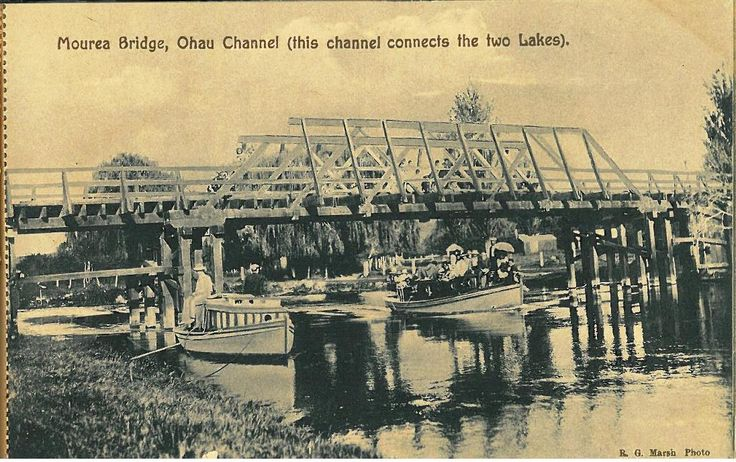 """Mourea Bridge as photographed by R.G. Marsh and published in a booklet of tear-out postcards """"A souvenir of Lake trip Rotorua""""  Available to view at Rotorua District Library in the Don Stafford Heritage Collection."""