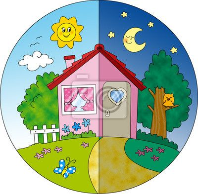 Fotomurale Casa di campagna giorno e notte, illustrazione per bambini.