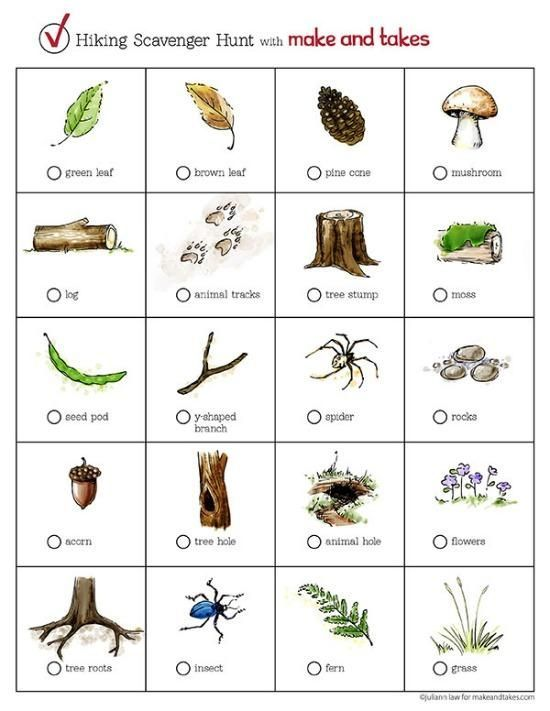 printable picture scavenger hunt list | HIking Scavenger Hunt Printable @MakeandTakes.com.com