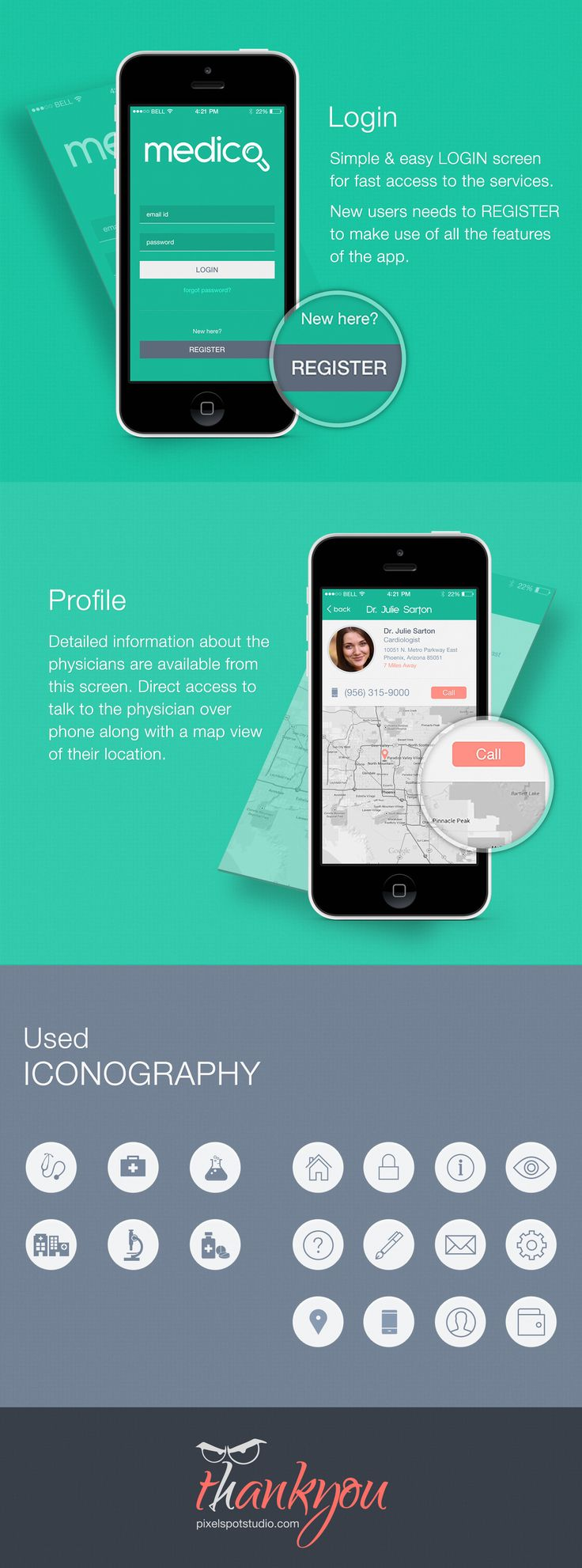 Medico is an iOS app, that anyone can easily search the nearest Physician, Chemists, Hospitals, Pharmarcy, Laboratories and all other  Medical Services.