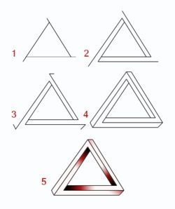 Draw a triangle and extend the ends of the lines past where they join.