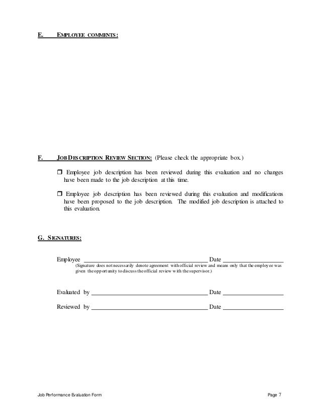 Job Performance Evaluation Form Page 7 E EMPLOYEE COMMENTS F - sample employee evaluation form