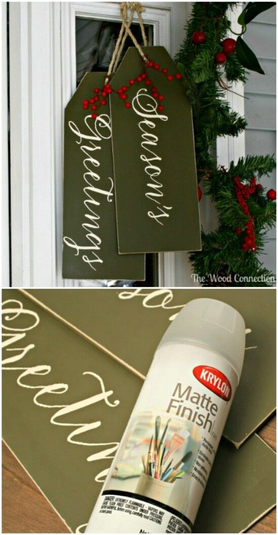 Door Tags  This wonderful idea comes from THE WOOD CONNECTION BLOG: visit www.thewoodconnectionblog.com for great ideas - be sure to subscribe!.  The exact address for this tutorial is: http://www.thewoodconnectionblog.com/weatherproofing-your-door-hangs/ . Please let her know how much you enjoy her blog!