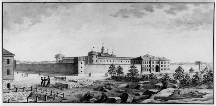 Carl Ludvig Engelin perspektiivipiirustus Hietalahteen suunniteltua työ- ja ojennuslaitosta varten. Suunnitelma jäi toteuttamatta.