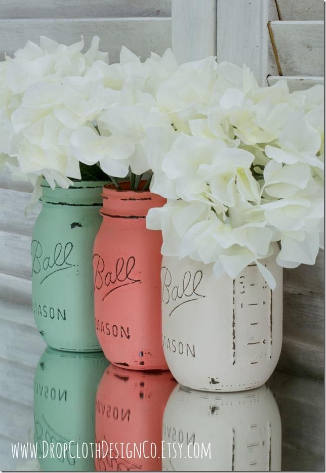 mint-green, coral & white painted mason jars. Add a touch of color scheme to our bedrooms.