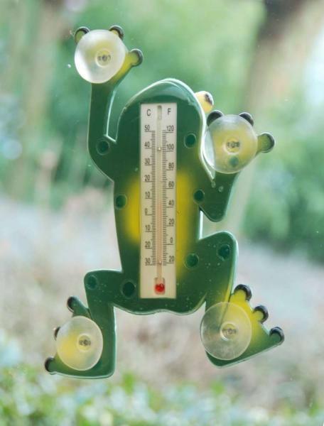 Béka alakú műanyag hőmérő, tapadó koronggal, -30 és + 50 fok között mér.