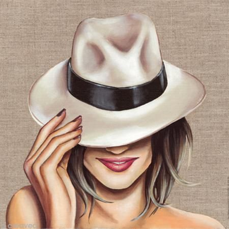 Image 3D Femme - Chapeau blanc - 30 x 30 cm http://www.creavea.com/image-3d-femme-chapeau-blanc-30-x-30-cm_boutique-acheter-loisirs-creatifs_59163.html