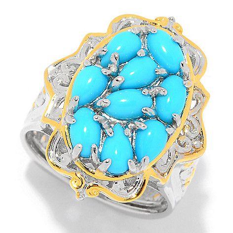 158-815 - Gems en Vogue Sleeping Beauty Turquoise Nine-Stone Cluster Ring