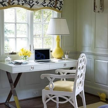 White and Yellow Office with Gray Walls