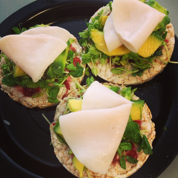 Inspiration from @Samantha Ballou & @Michelle Bridges today! Turkey & Avocado Rice Cakes #delicious