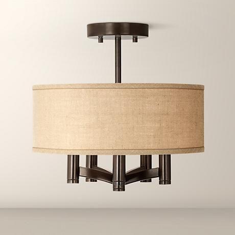 Woven burlap ava 5 light bronze ceiling light style y0035 2w547