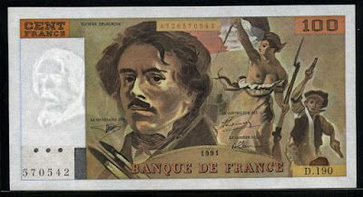 France currency 100 French Francs banknote of 1991, Eugene Delacroix - Liberty Leading the People, issued by the Bank of France - Banque de France.