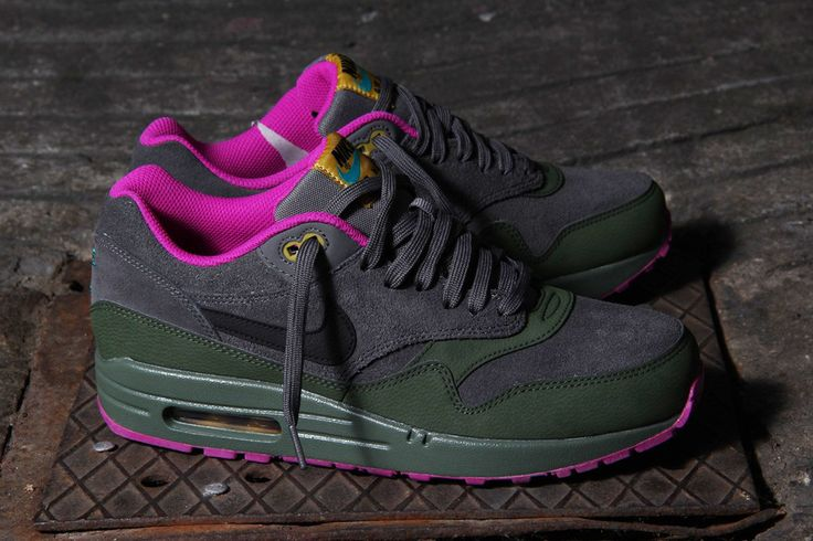 Nike Air Max 1 Leather - Dark Pewter/Carbon Green