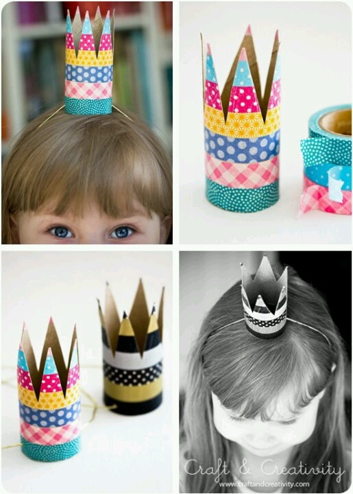 DIY crafts - birthday hats out of toilet paper rolls and colored tape.