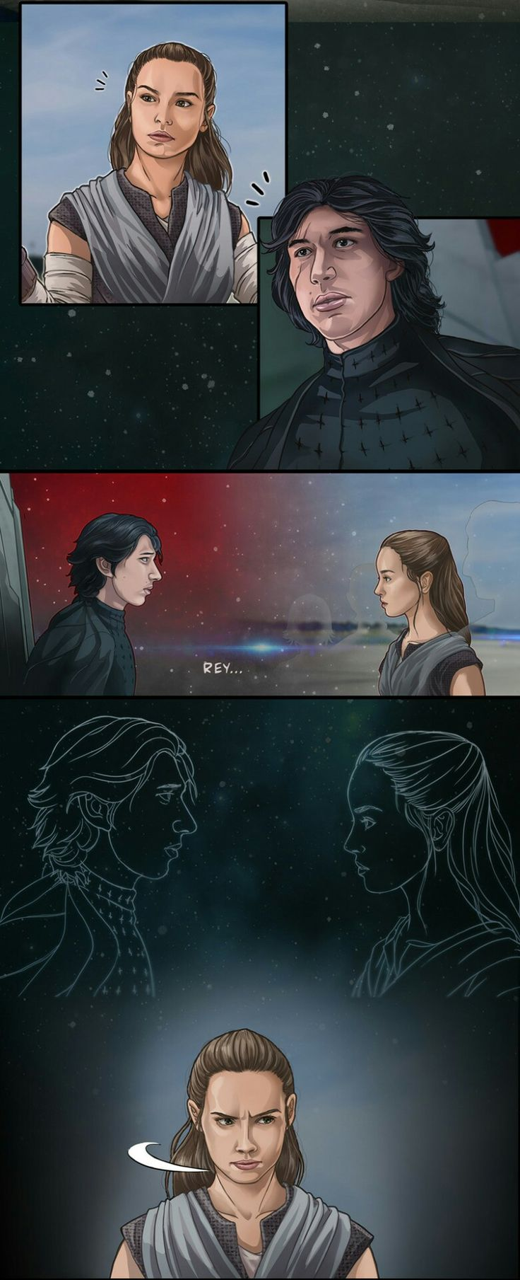 Rey and Kylo connected by the force