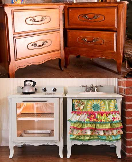 How to make a play kitchen set out of a pair of nightstands {DIY} - View all 10 {Amazing} DIY Kids Play Kitchen Ideas/Projects http://utahcoupondeals.com/10-amazing-diy-kids-play-kitchen-ideasprojects/