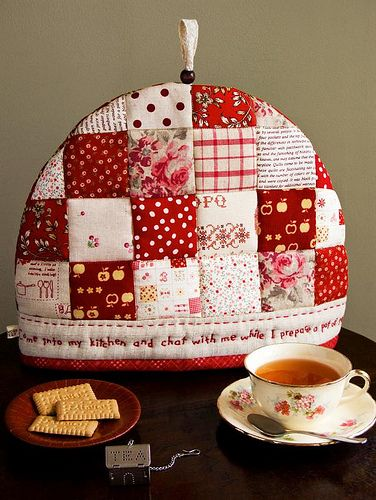 Tea cozy  Like writing along bottom