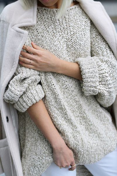 Grey baggy sweater paired with a coat thrown over the shoulders. So chic. #shopstyle