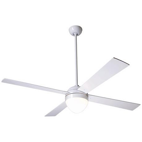 """52"""" Modern Fan Gloss White Ball with Light Ceiling Fan"""