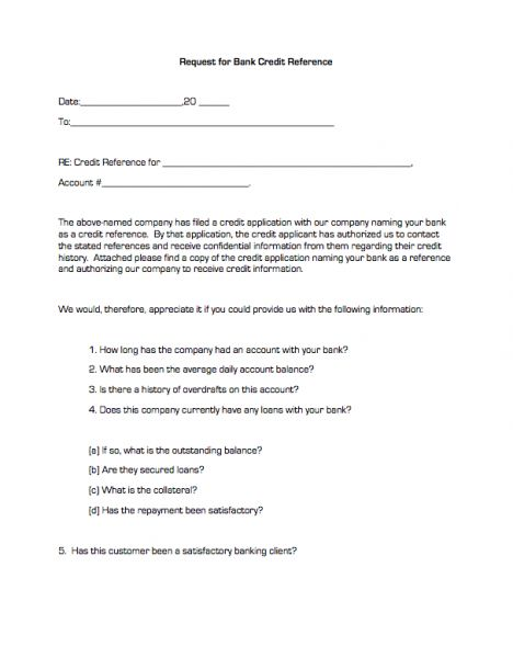free credit reference form for business