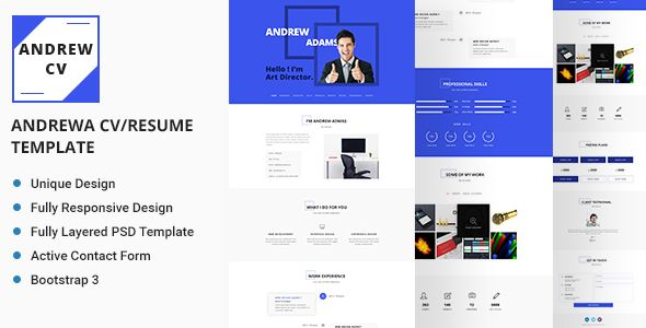 Andrew Personal CV\/Resume Template Cv resume template, Personal - bootstrap resume template