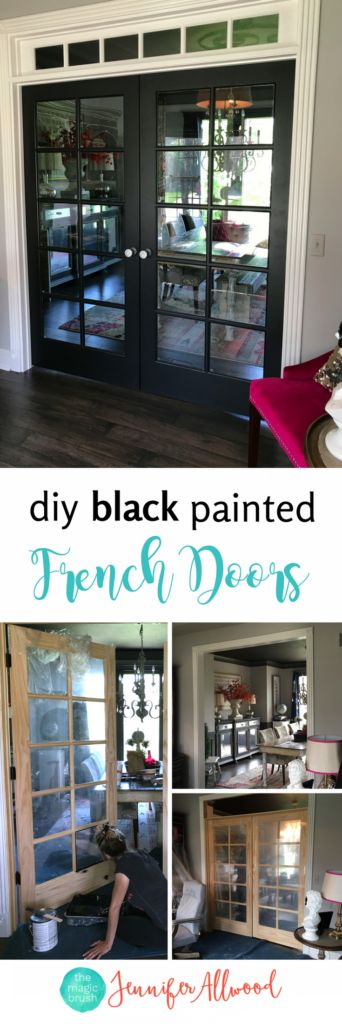 DIY Painted Black French Doors + French Door Interior + DIY French Doors + Transom Window by Jennifer Allwood