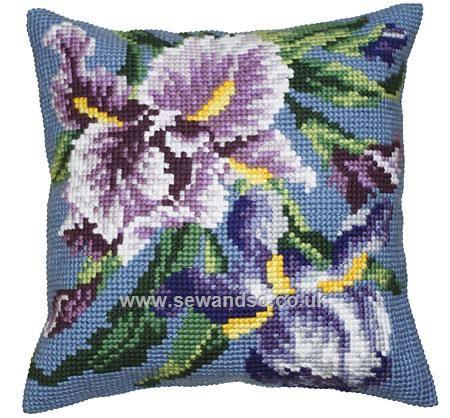 Buy Iris Mauve Cushion Front Chunky Cross Stitch Kit Online at www.sewandso.co.uk