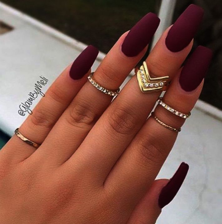 Home Blend Of Bites Maroon Nails Coffin Nails Matte Burgundy Nails