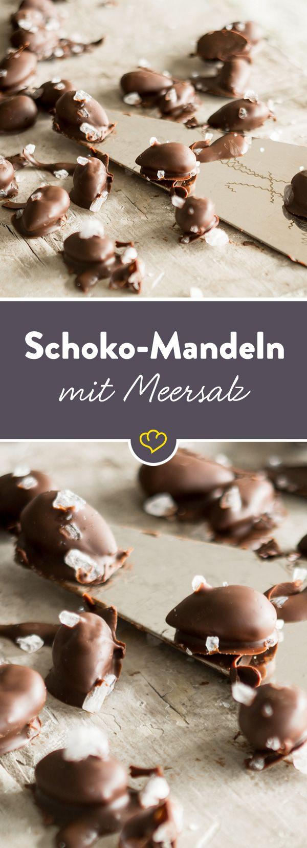 Gebrannte Mandeln 2.0. Die Kombination aus Zartbitterschokolade und Meersalz - ein süß-salziges Spiel für deinen Gaumen.