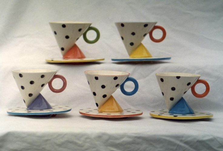 http://www.brucehaliday.com/ Not the best photo but here's some #MemphisDesign influenced cup & saucer I designed & made 1987-9. Cone on cone ...  https://twitter.com/brucehaliday