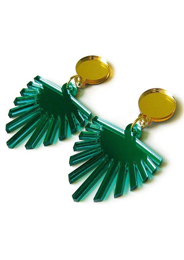 Fab Art Deco-esque palm earrings | Fab Parlor