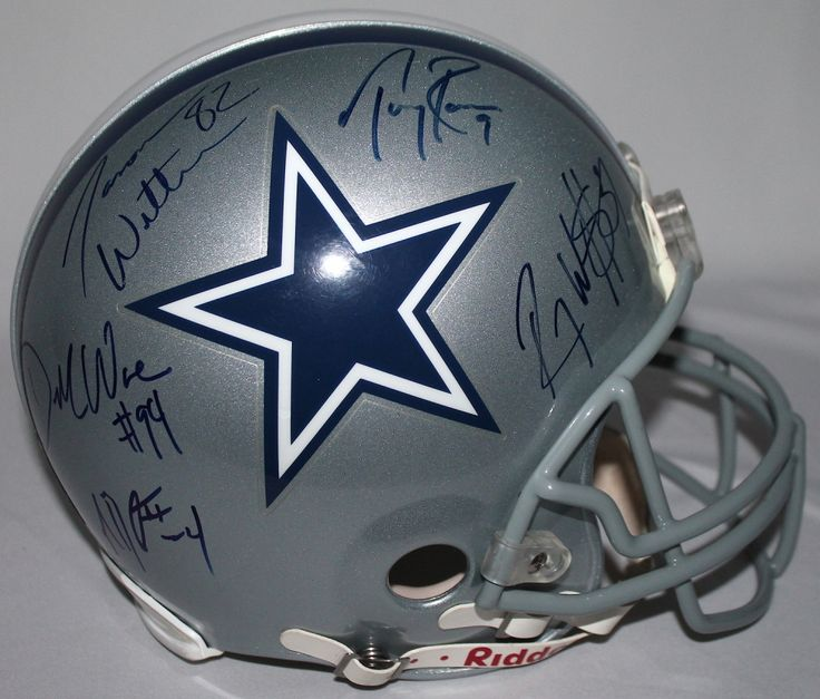Tony Romo, Jason Witten, Roy Williams, Demarcus Ware, & Marion Barber Signed Cowboys Full-Size Authentic Proline Helmet (GTSM & Witten Holograms)