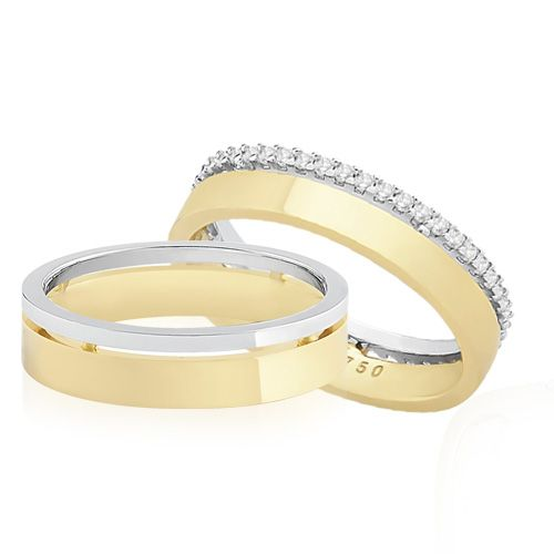 Par de Alianças Ouro Amarelo Ouro Branco e Diamantes Love me